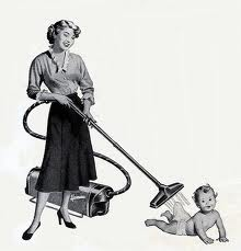 Call be zany, but I think this is a funny picture. Imagine an ad for a vacuum cleaner like this  today...or is it an ad for the first electric baby harness? Hard to tell.