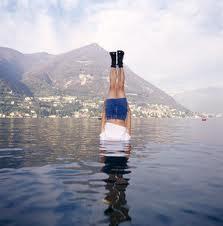 head down in water